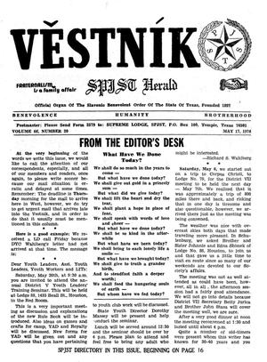 Primary view of object titled 'Věstník (West, Tex.), Vol. 66, No. 20, Ed. 1 Wednesday, May 17, 1978'.