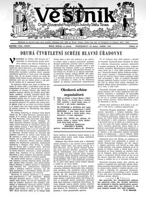 Primary view of object titled 'Věstník (West, Tex.), Vol. 35, No. 18, Ed. 1 Wednesday, April 30, 1947'.