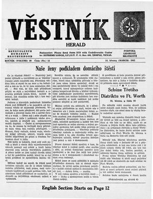 Primary view of object titled 'Věstník (West, Tex.), Vol. 50, No. 11, Ed. 1 Wednesday, March 14, 1962'.