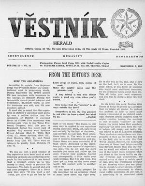 Primary view of object titled 'Věstník (West, Tex.), Vol. 53, No. 44, Ed. 1 Wednesday, November 3, 1965'.