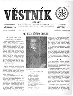 Primary view of object titled 'Věstník (West, Tex.), Vol. 52, No. 11, Ed. 1 Wednesday, March 11, 1964'.