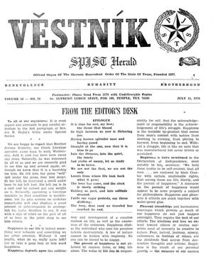 Primary view of object titled 'Věstník (West, Tex.), Vol. 58, No. 28, Ed. 1 Wednesday, July 15, 1970'.