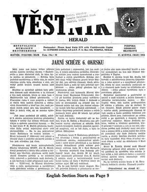 Primary view of object titled 'Věstník (West, Tex.), Vol. 49, No. 20, Ed. 1 Wednesday, May 17, 1961'.
