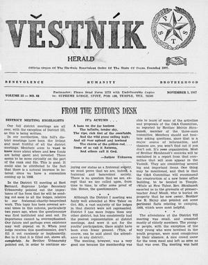 Primary view of object titled 'Věstník (West, Tex.), Vol. 55, No. 44, Ed. 1 Wednesday, November 1, 1967'.
