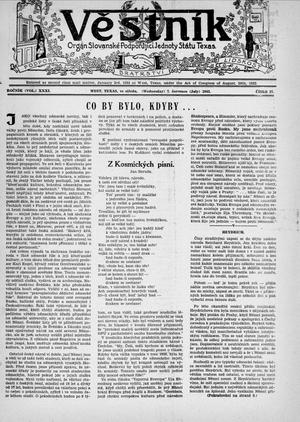 Primary view of object titled 'Věstník (West, Tex.), Vol. 31, No. 27, Ed. 1 Wednesday, July 7, 1943'.