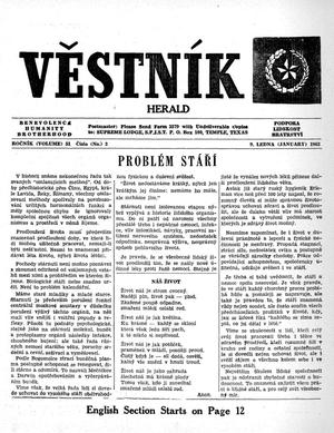 Primary view of object titled 'Věstník (West, Tex.), Vol. 51, No. 2, Ed. 1 Wednesday, January 9, 1963'.