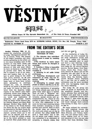 Primary view of object titled 'Věstník (West, Tex.), Vol. 65, No. 10, Ed. 1 Wednesday, March 9, 1977'.
