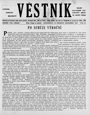 Primary view of object titled 'Věstník (West, Tex.), Vol. 39, No. 50, Ed. 1 Wednesday, December 12, 1951'.