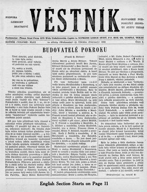 Primary view of object titled 'Věstník (West, Tex.), Vol. 43, No. 8, Ed. 1 Wednesday, February 23, 1955'.