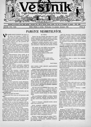 Primary view of Věstník (West, Tex.), Vol. 30, No. 50, Ed. 1 Wednesday, December 16, 1942