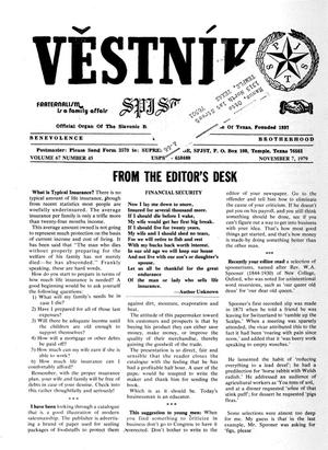 Primary view of object titled 'Věstník (West, Tex.), Vol. 67, No. 45, Ed. 1 Wednesday, November 7, 1979'.