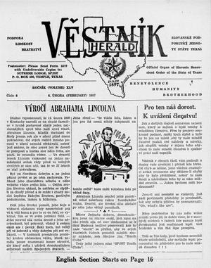 Primary view of object titled 'Věstník (West, Tex.), Vol. 45, No. 6, Ed. 1 Wednesday, February 6, 1957'.