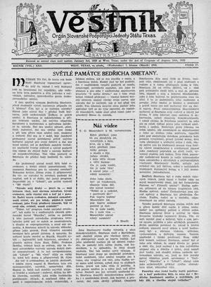 Primary view of Věstník (West, Tex.), Vol. 22, No. 17, Ed. 1 Wednesday, March 7, 1934
