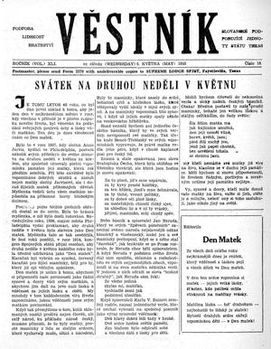 Primary view of object titled 'Věstník (West, Tex.), Vol. 41, No. 18, Ed. 1 Wednesday, May 6, 1953'.