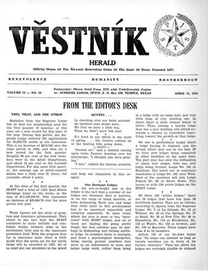 Primary view of object titled 'Věstník (West, Tex.), Vol. 53, No. 16, Ed. 1 Wednesday, April 21, 1965'.