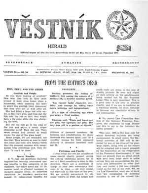Primary view of object titled 'Věstník (West, Tex.), Vol. 55, No. 50, Ed. 1 Wednesday, December 13, 1967'.