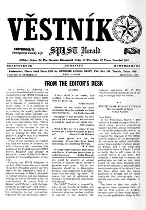 Primary view of object titled 'Věstník (West, Tex.), Vol. 67, No. 12, Ed. 1 Wednesday, March 21, 1979'.