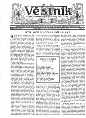Primary view of Věstník (West, Tex.), Vol. 21, No. 40, Ed. 1 Wednesday, August 16, 1933