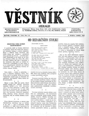 Primary view of object titled 'Věstník (West, Tex.), Vol. 52, No. 14, Ed. 1 Wednesday, April 1, 1964'.