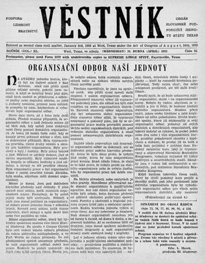 Primary view of object titled 'Věstník (West, Tex.), Vol. 40, No. 16, Ed. 1 Wednesday, April 16, 1952'.