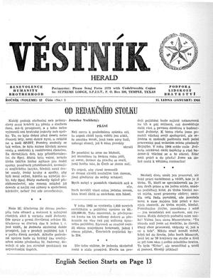 Primary view of object titled 'Věstník (West, Tex.), Vol. 52, No. 3, Ed. 1 Wednesday, January 15, 1964'.