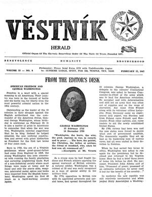 Primary view of object titled 'Věstník (West, Tex.), Vol. 55, No. 8, Ed. 1 Wednesday, February 22, 1967'.