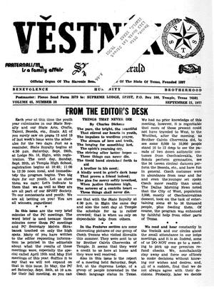 Primary view of object titled 'Věstník (West, Tex.), Vol. 65, No. 38, Ed. 1 Wednesday, September 21, 1977'.
