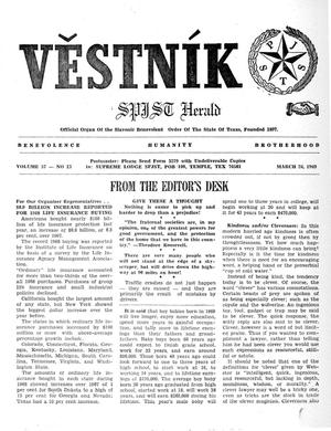 Primary view of object titled 'Věstník (West, Tex.), Vol. 57, No. 13, Ed. 1 Wednesday, March 26, 1969'.