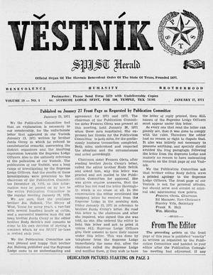 Primary view of object titled 'Věstník (West, Tex.), Vol. 59, No. 4, Ed. 1 Wednesday, January 27, 1971'.
