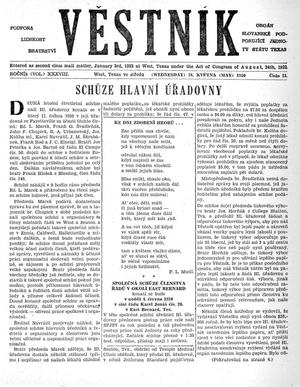 Primary view of object titled 'Věstník (West, Tex.), Vol. 38, No. 21, Ed. 1 Wednesday, May 24, 1950'.