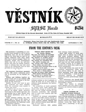 Primary view of object titled 'Věstník (West, Tex.), Vol. 57, No. 38, Ed. 1 Wednesday, September 17, 1969'.