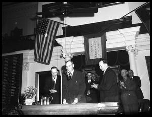 Primary view of object titled '[Governor Coke Stevenson Addressing 49th Texas Legislature]'.