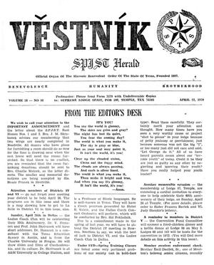 Primary view of object titled 'Věstník (West, Tex.), Vol. 58, No. 16, Ed. 1 Wednesday, April 22, 1970'.