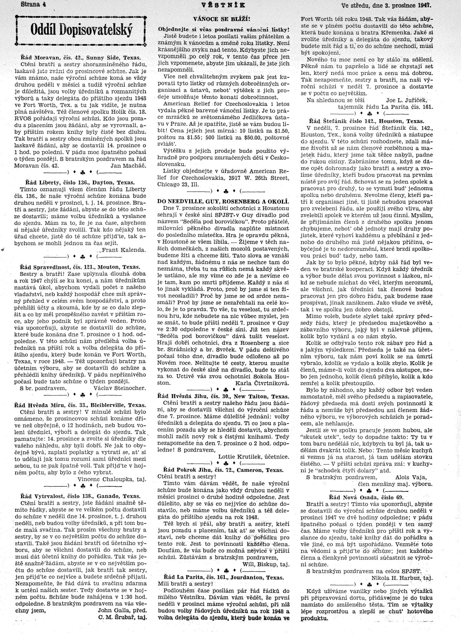 Věstník (West, Tex.), Vol. 35, No. 49, Ed. 1 Wednesday, November 26, 1947                                                                                                      [Sequence #]: 4 of 16
