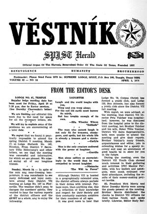 Primary view of object titled 'Věstník (West, Tex.), Vol. 62, No. 14, Ed. 1 Wednesday, April 3, 1974'.