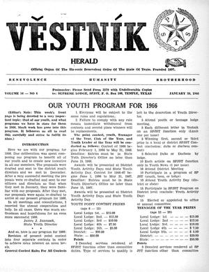 Primary view of object titled 'Věstník (West, Tex.), Vol. 54, No. 4, Ed. 1 Wednesday, January 26, 1966'.