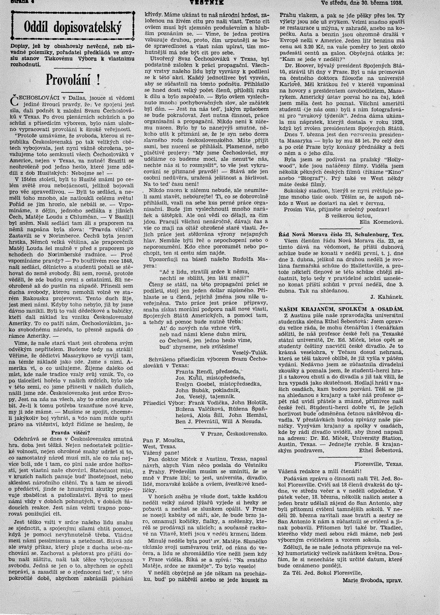 Věstník (West, Tex.), Vol. 26, No. 13, Ed. 1 Wednesday, March 30, 1938                                                                                                      [Sequence #]: 4 of 24