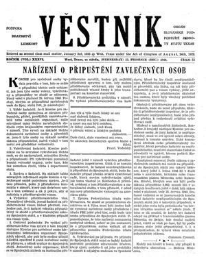 Primary view of object titled 'Věstník (West, Tex.), Vol. 36, No. 51, Ed. 1 Wednesday, December 15, 1948'.