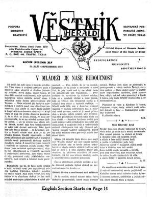 Primary view of object titled 'Věstník (West, Tex.), Vol. 45, No. 39, Ed. 1 Wednesday, September 25, 1957'.