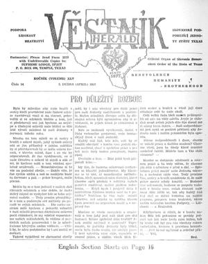 Primary view of object titled 'Věstník (West, Tex.), Vol. 45, No. 14, Ed. 1 Wednesday, April 3, 1957'.