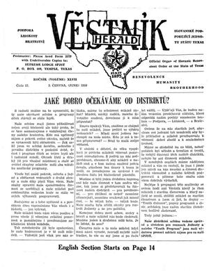 Primary view of object titled 'Věstník (West, Tex.), Vol. 47, No. 22, Ed. 1 Wednesday, June 3, 1959'.