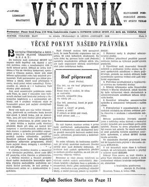 Primary view of object titled 'Věstník (West, Tex.), Vol. 44, No. 3, Ed. 1 Wednesday, January 18, 1956'.