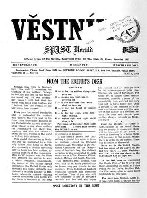 Primary view of object titled 'Věstník (West, Tex.), Vol. 62, No. 18, Ed. 1 Wednesday, May 8, 1974'.
