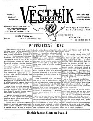 Primary view of object titled 'Věstník (West, Tex.), Vol. 45, No. 38, Ed. 1 Wednesday, September 18, 1957'.