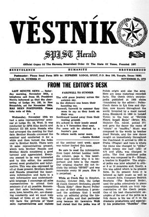 Primary view of object titled 'Věstník (West, Tex.), Vol. 64, No. 47, Ed. 1 Wednesday, November 24, 1976'.