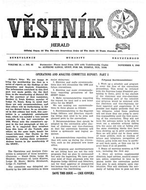 Primary view of object titled 'Věstník (West, Tex.), Vol. 54, No. 45, Ed. 1 Wednesday, November 9, 1966'.