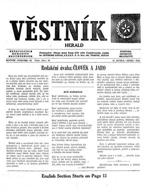 Primary view of object titled 'Věstník (West, Tex.), Vol. 51, No. 16, Ed. 1 Wednesday, April 17, 1963'.