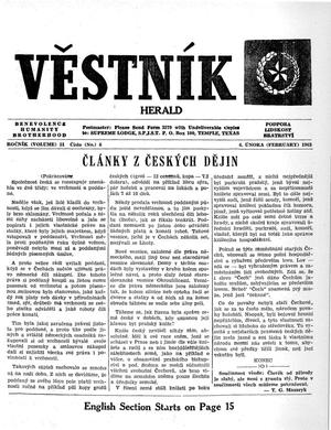 Primary view of object titled 'Věstník (West, Tex.), Vol. 51, No. 6, Ed. 1 Wednesday, February 6, 1963'.