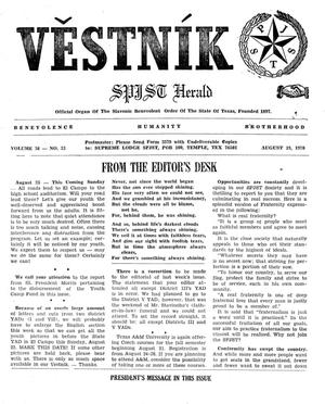 Primary view of object titled 'Věstník (West, Tex.), Vol. 58, No. 33, Ed. 1 Wednesday, August 19, 1970'.