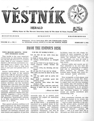 Primary view of object titled 'Věstník (West, Tex.), Vol. 54, No. 5, Ed. 1 Wednesday, February 2, 1966'.